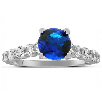 Luxurious 1.50 Carat Round Cut Blue Sapphire and Diamond Engagement Ring