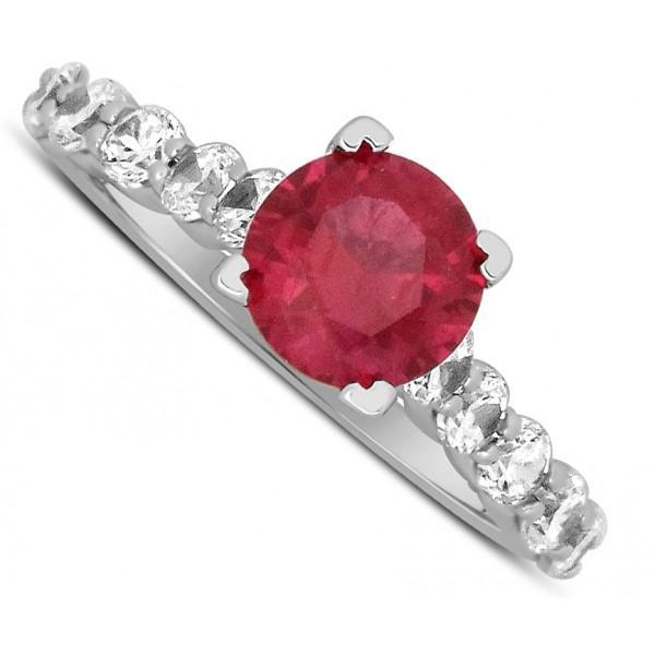 Luxurious 1.50 Carat Round Red Ruby and Diamond Engagement Ring