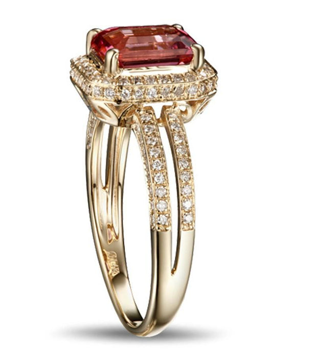 Luxurious 1.50 Carat Ruby and Diamond Halo Engagement Ring