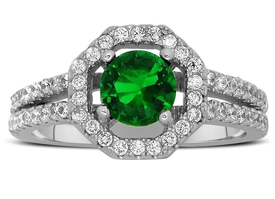 Luxurious 2 Carat Emerald and Diamond halo Engagement Ring