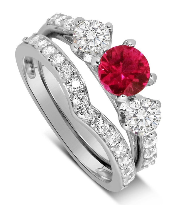 Luxurious 2 Carat Ruby and Diamond Wedding Ring Set in 9k White Gold