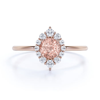 Vintage 0.56 ct Halo Set Round Cut Morganite and Diamond Promise Ring