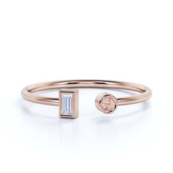 Round Cut Morganite and Baguette Diamond Open Stacking Ring in Rose Gold