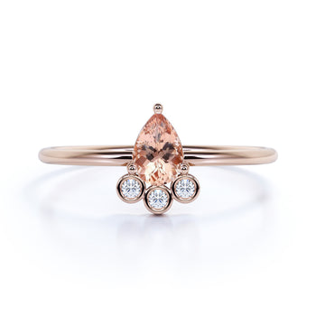 Pear Cut Morganite and Diamond Trio Stacking Ring in Rose Gold