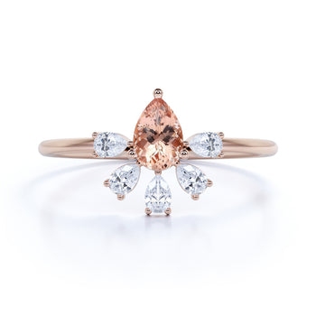 Pear Cut Morganite and Marquise Cut Diamond Stacking Ring in Rose Gold