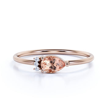 Pear Cut Morganite and  Diamonds Promise Ring in Rose Gold