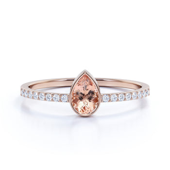 Pear Cut Morganite and Pave set Diamonds Promise Ring in Rose Gold
