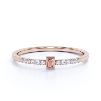 Baguette Cut Morganite and Pave set Diamonds Stacking Ring in Rose Gold