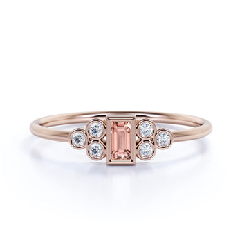 Artdeco Baguette Cut Morganite and Round Diamonds Ring in Rose Gold