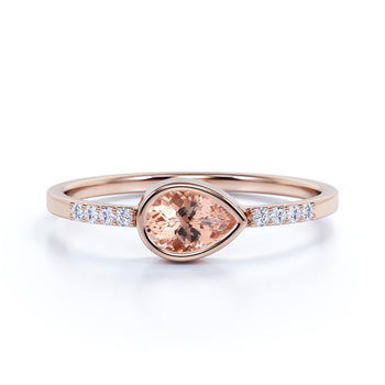 0.51 ct Pear Cut Morganite with Pave Set Diamonds Ring in Rose Gold