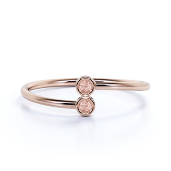 Bezel Set Morganite Duo Stacking Ring in Rose Gold
