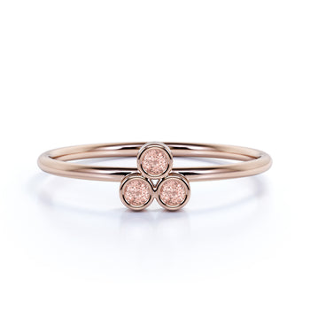 Bezel Set Round Morganite Trio Stacking Ring in Rose Gold