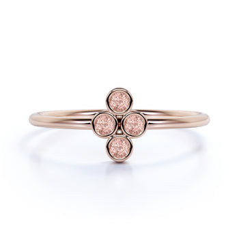 4 Stone Bezel Set Round Cut Morganite Stackable Ring in Rose Gold