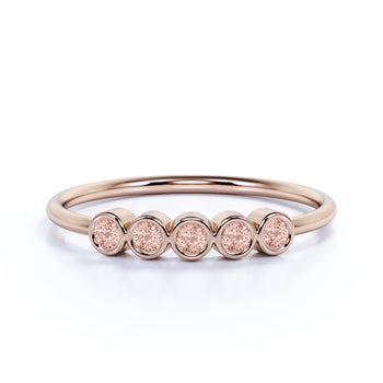5 Stone Bezel Set Round Cut Morganite Stacking Ring in Rose Gold