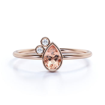 Unique Bezel Set Pear Cut Morganite and Diamond Stacking Ring in Rose Gold