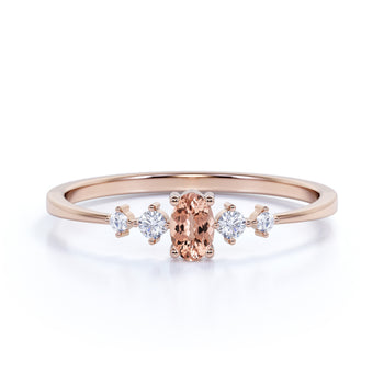 4 Stone Oval Cut Morganite and  White Diamond Stacking Ring in Rose Gold