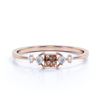 4 Stone Princess Cut Morganite and  White Diamond Promise Ring in Rose Gold
