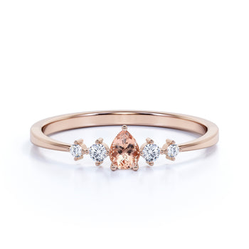 4 Stone Pear Cut Morganite and  White Diamond Stacking Ring in Rose Gold