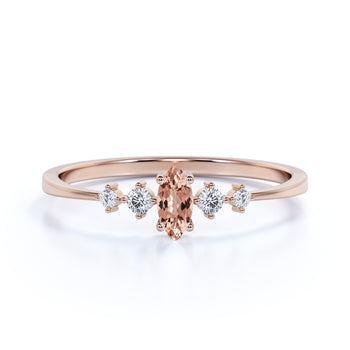 0.35 ct Marquise Cut Morganite and  White Diamond Promise Ring in Rose Gold