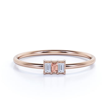 Baguette Cut Morganite and Diamond Trio Stacking Ring in Rose Gold