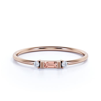 0.35 Carat Morganite and Diamond Trilogy Stacking Ring in Rose Gold