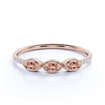 Marquise Cut Morganite Trio with Round Diamonds Stacking Ring in Rose Gold