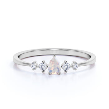 Alluring Moonstone and Diamond Stacking Ring in Rose Gold