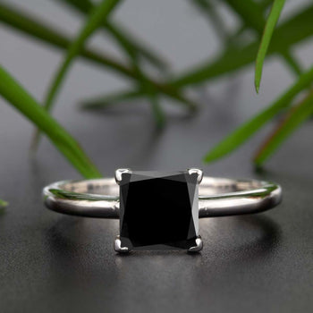 Stunning 1 Carat Princess Cut Black Diamond and Diamond Engagement Ring in White Gold