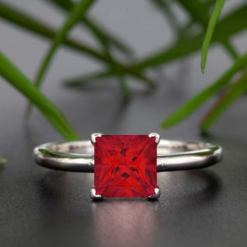 Stunning 1 Carat Princess Cut Red Ruby and Diamond Engagement Ring in 9k White Gold