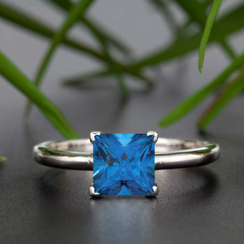 Stunning 1 Carat Princess Cut Blue Sapphire and Diamond Engagement Ring in White Gold