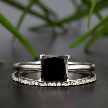 Stunning 1.25 Carat Princess Cut Black Diamond and Diamond Bridal Ring Set in White Gold