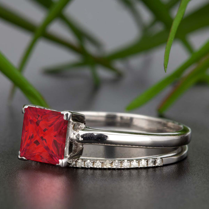 Stunning 1.25 Carat Princess Cut Red Ruby and Diamond Bridal Ring Set in 9k White Gold