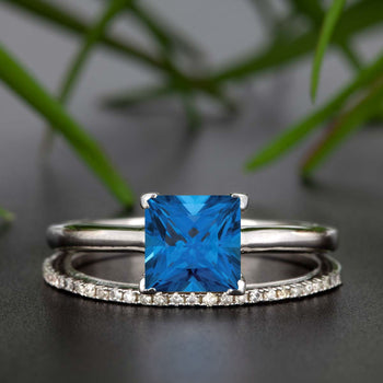 Stunning 1.25 Carat Princess Cut Blue Sapphire and Diamond Bridal Ring Set in White Gold