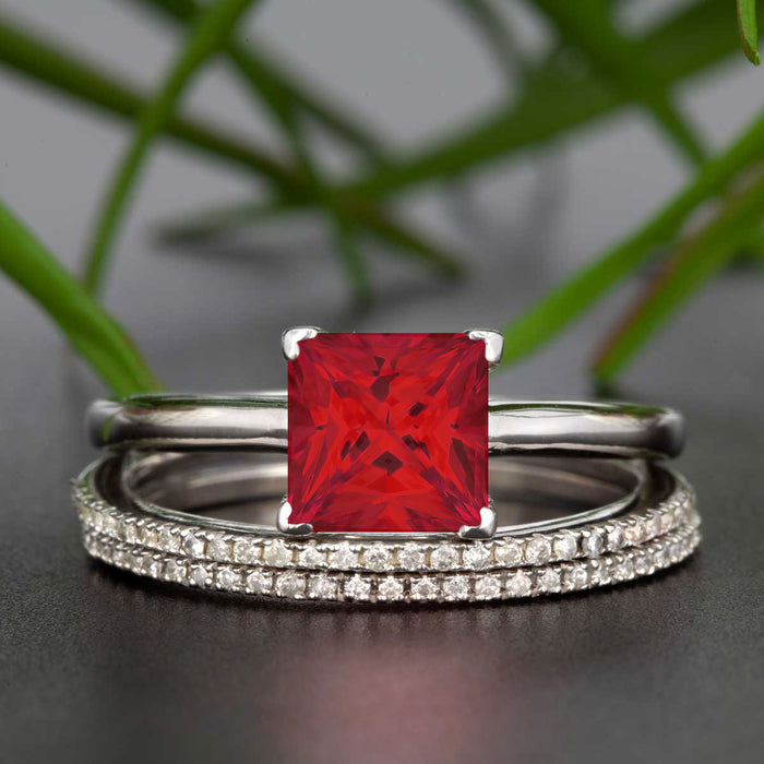 Stunning 1.5 Carat Princess Cut Red Ruby and Diamond Trio Bridal Ring Set in 9k White Gold