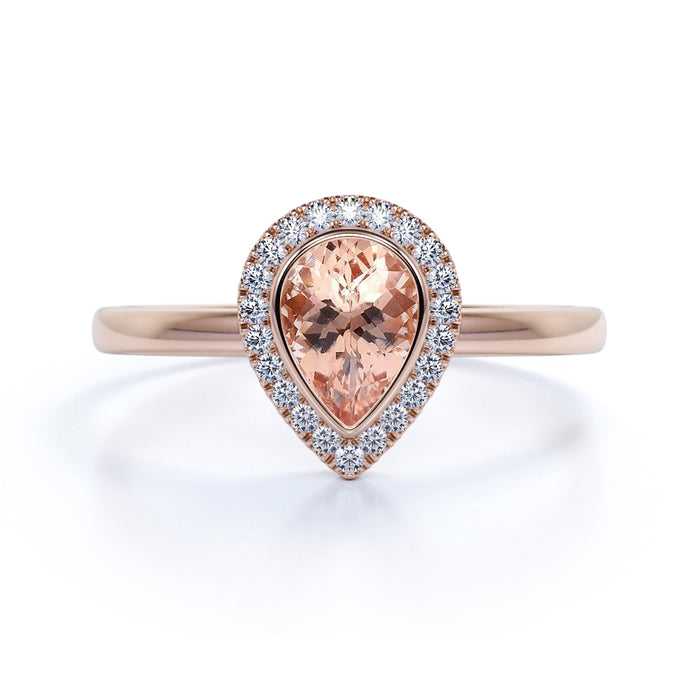 1.25 Carat Bezel Set Pink Morganite with Pave Diamond Halo Solitaire Engagement Ring in Rose Gold