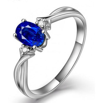 Perfect 1 Carat Oval Blue Sapphire and Diamond Trilogy Engagement Ring