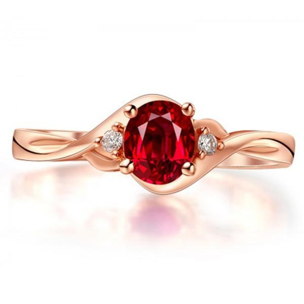 Perfect 1.25 Carat Oval Red Ruby and Diamond Trilogy Engagement Ring