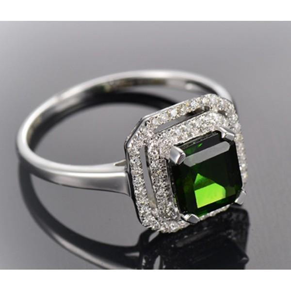 Perfect 1 Carat princess cut Emerald and Diamond double Halo Engagement Ring