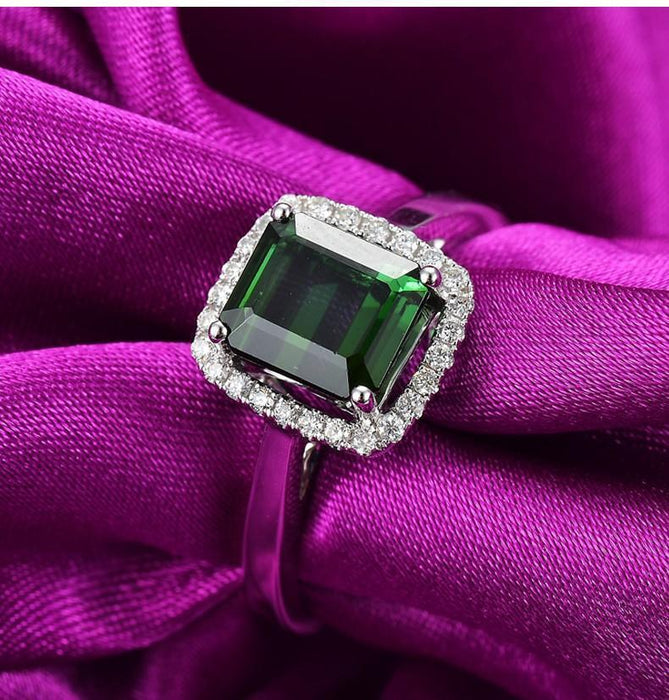 Perfect 1 Carat princess cut Emerald and Diamond Halo Engagement Ring