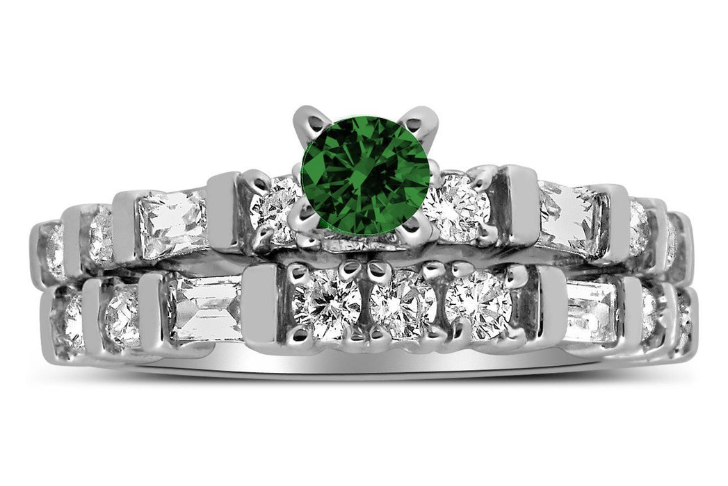 Romantic 1 Carat Emerald and Diamond Wedding Ring Set in White Gold