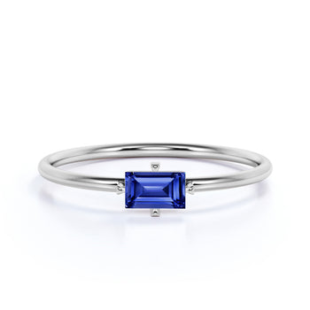 0.35 Carat Solitaire Emerald Cut Sapphire Dainty Ring in White Gold