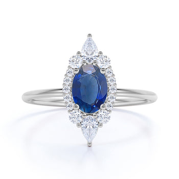 0.85 ct Antique Halo Set Oval Cut Sapphire Promise Ring in White Gold