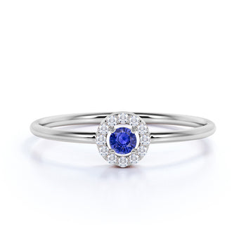 0.37 ct Vintage Halo Set Sapphire and Diamond Ring in White Gold