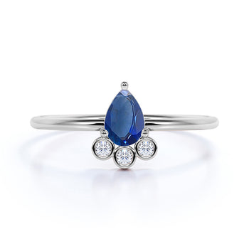 Pear Cut Sapphire and Diamond Trio Stacking Ring in White Gold