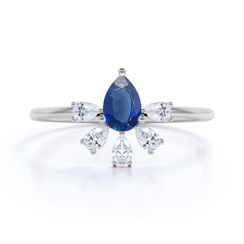 Pear Cut Sapphire and Marquise Cut Diamond Stacking Ring in White Gold