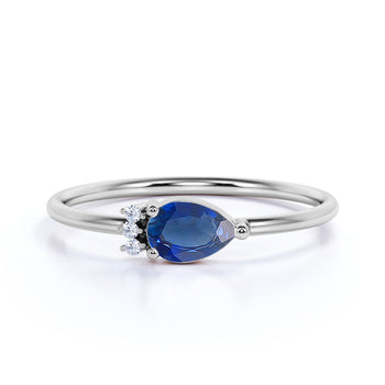 Pear Cut Sapphire and  Diamonds Promise Ring in White Gold