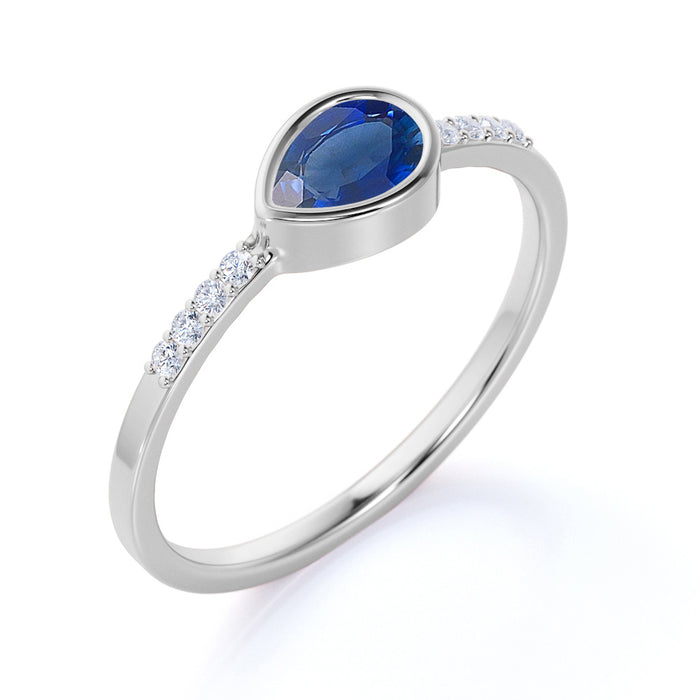 0.51 ct Pear Cut Sapphire with Pave Set Diamonds Ring in White Gold