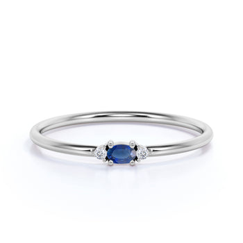 Vintage Oval Cut Sapphire and Diamond Trilogy Stacking Ring