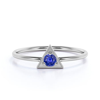 Vintage Solitaire Round Cut  Sapphire Stacking Ring in  White Gold