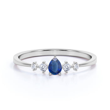 4 Stone Pear Cut Sapphire and  White Diamond Stacking Ring in White Gold